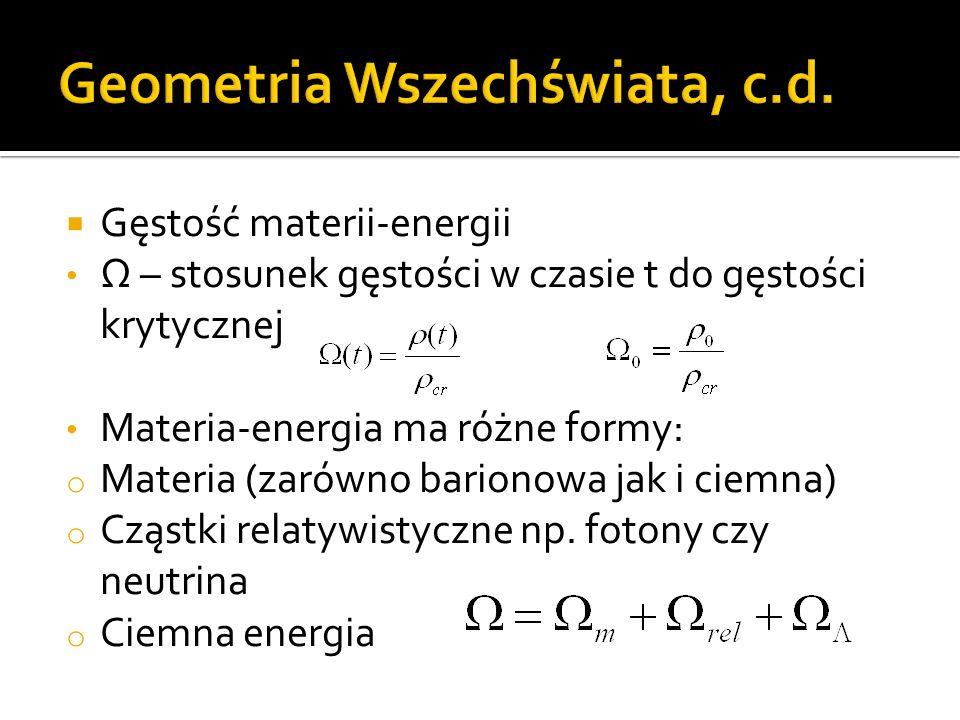  Gęstość materii-energii Ω – stosunek gęstości w czasie t do gęstości krytycznej Materia-energia ma różne formy: o Materia (zarówno barionowa jak i ciemna) o Cząstki relatywistyczne np.