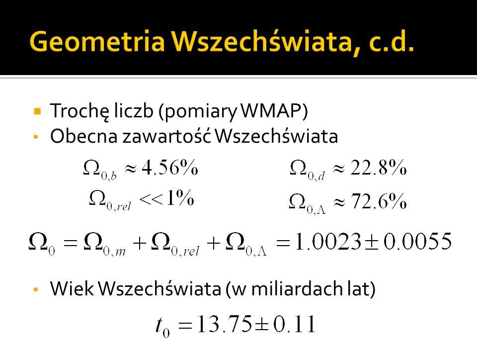  Trochę liczb (pomiary WMAP) Obecna zawartość Wszechświata Wiek Wszechświata (w miliardach lat)