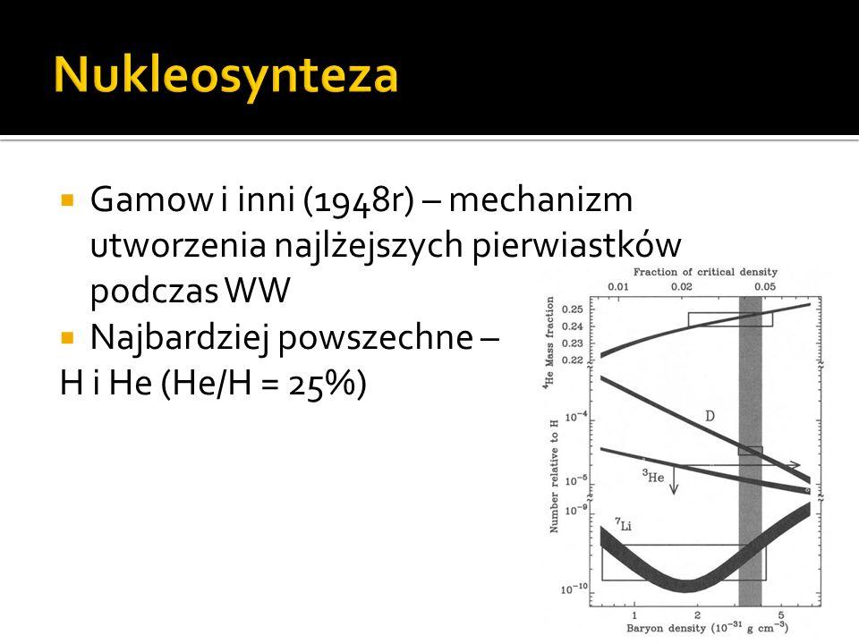  Gamow i inni (1948r) – mechanizm utworzenia najlżejszych pierwiastków podczas WW  Najbardziej powszechne – H i He (He/H = 25%)