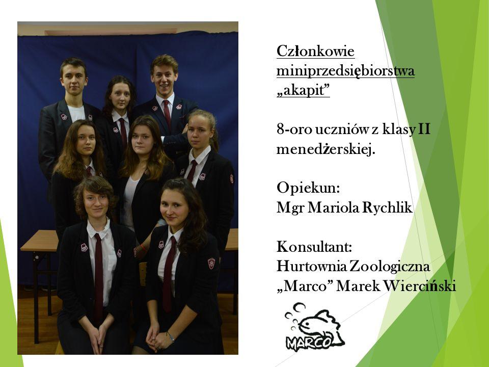 """Cz ł onkowie miniprzedsi ę biorstwa """"akapit 8-oro uczniów z klasy II mened ż erskiej."""