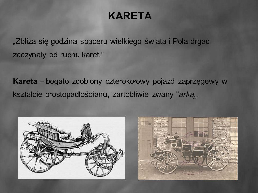 """KARETA """"Zbliża się godzina spaceru wielkiego świata i Pola drgać zaczynały od ruchu karet. Kareta – bogato zdobiony czterokołowy pojazd zaprzęgowy w kształcie prostopadłościanu, żartobliwie zwany arką""""."""