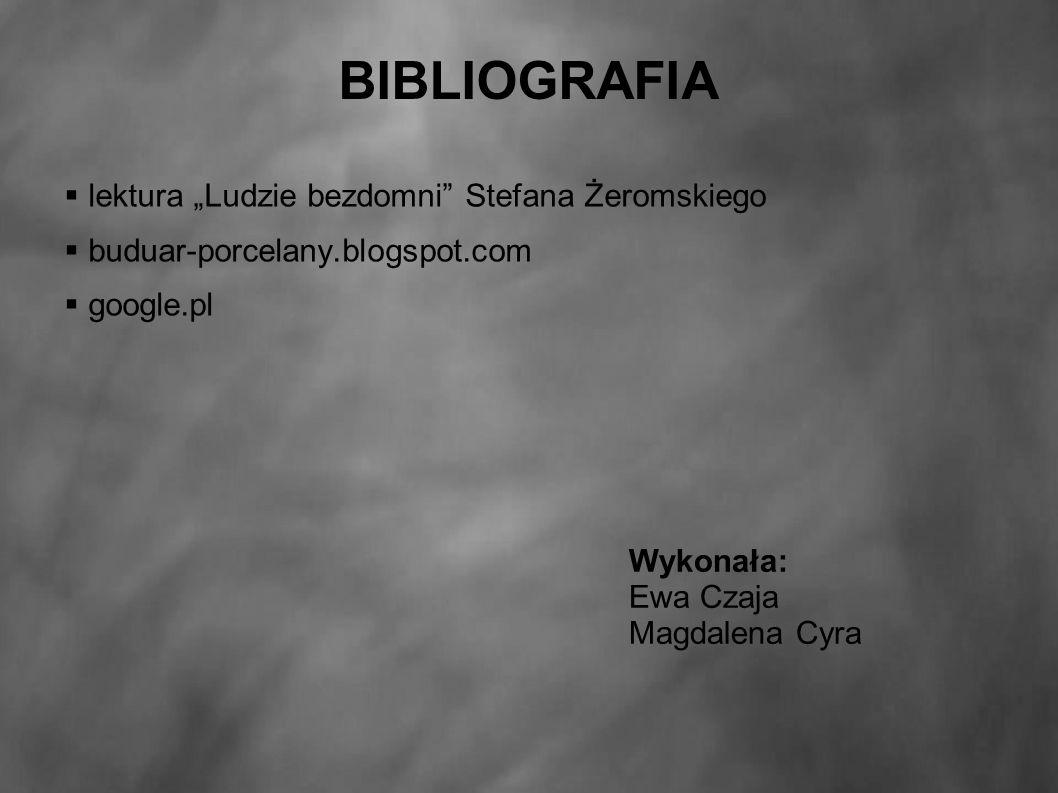 """BIBLIOGRAFIA  lektura """"Ludzie bezdomni Stefana Żeromskiego  buduar-porcelany.blogspot.com  google.pl Wykonała: Ewa Czaja Magdalena Cyra"""