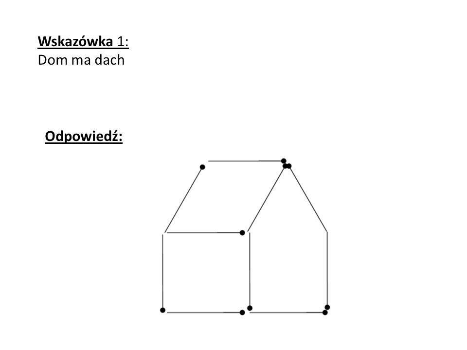 Odpowiedź: Wskazówka 1: Dom ma dach