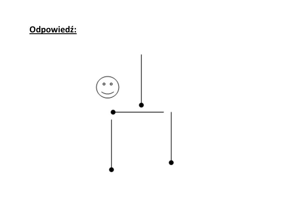 Należy przesunąć cztery zapałki, żeby otrzymać trzy kwadraty