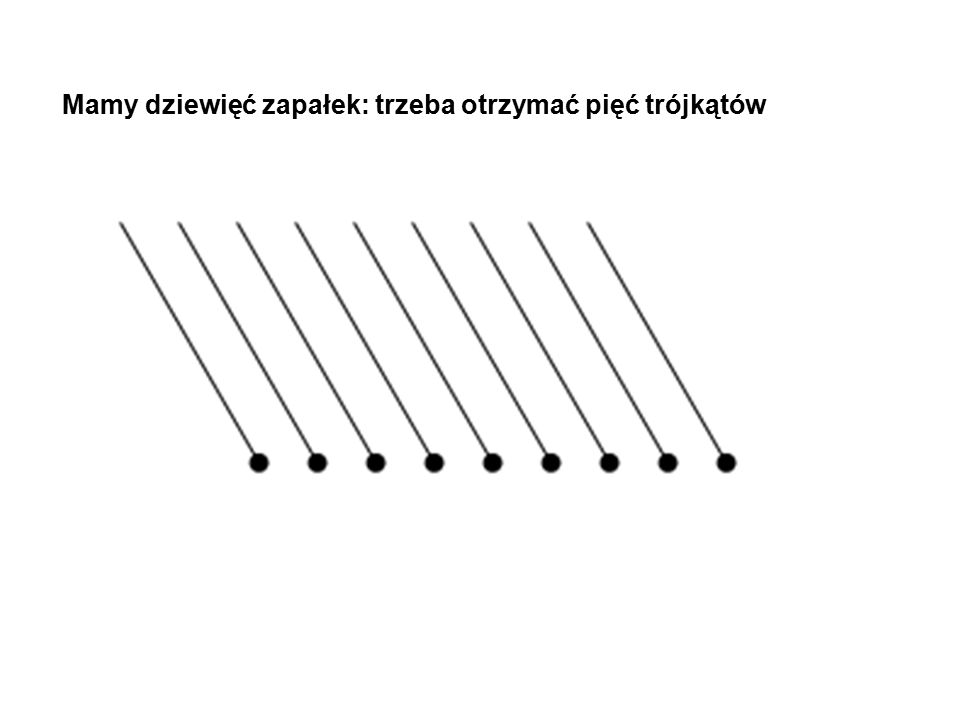 Mamy dziewięć zapałek: trzeba otrzymać pięć trójkątów