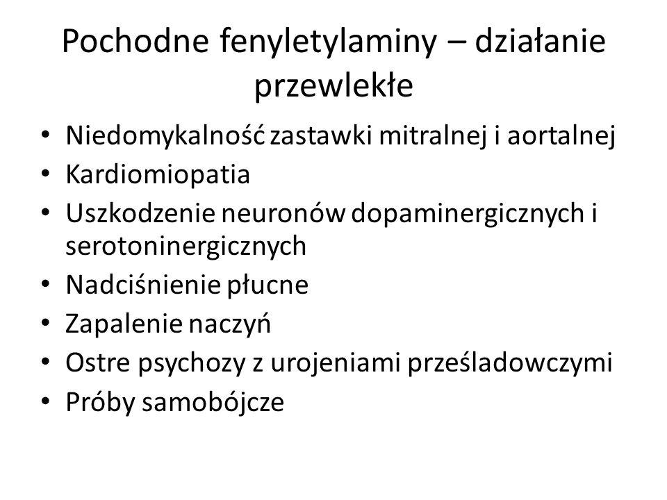 Pochodne fenyletylaminy – działanie przewlekłe Niedomykalność zastawki mitralnej i aortalnej Kardiomiopatia Uszkodzenie neuronów dopaminergicznych i serotoninergicznych Nadciśnienie płucne Zapalenie naczyń Ostre psychozy z urojeniami prześladowczymi Próby samobójcze