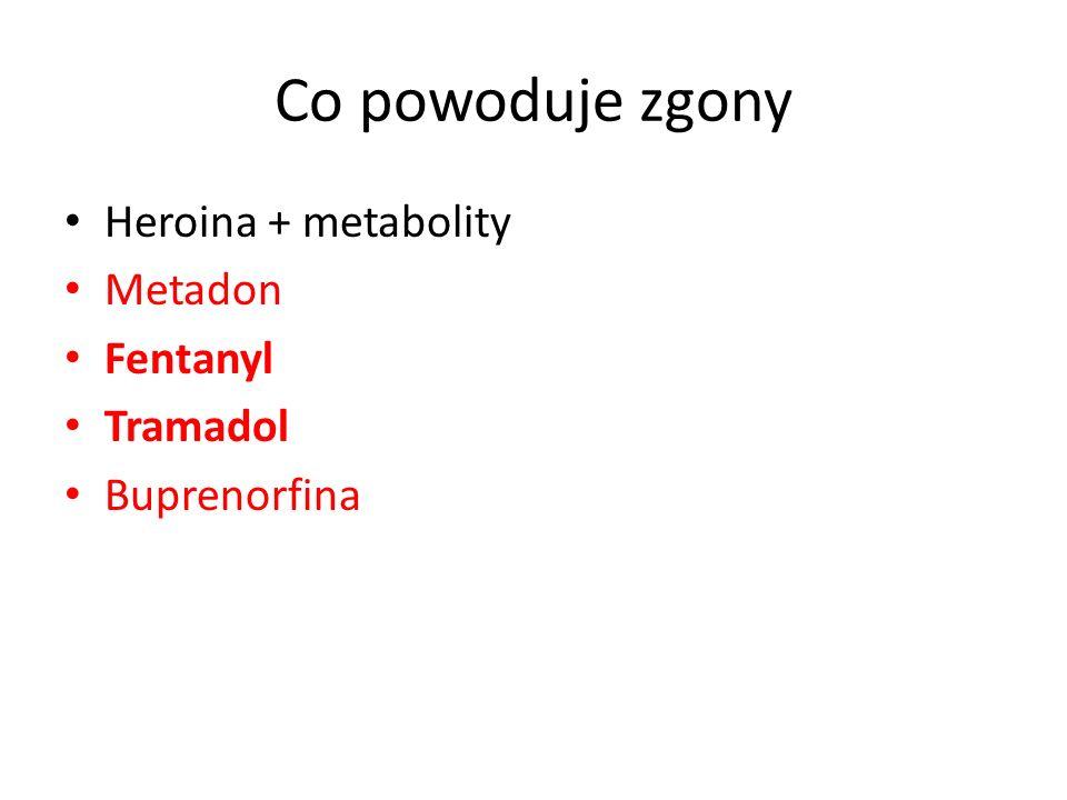 Co powoduje zgony Heroina + metabolity Metadon Fentanyl Tramadol Buprenorfina