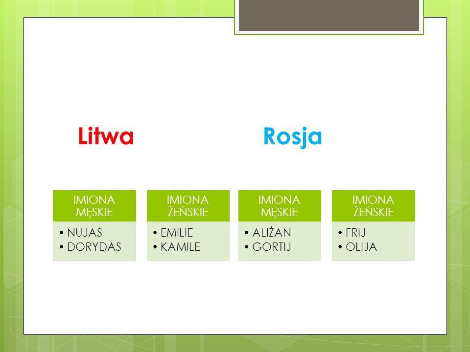 Litwa IMIONA MĘSKIE NUJAS DORYDAS IMIONA ŻEŃSKIE EMILIE KAMILE Rosja IMIONA MĘSKIE ALIŻAN GORTIJ IMIONA ŻEŃSKIE FRIJ OLIJA