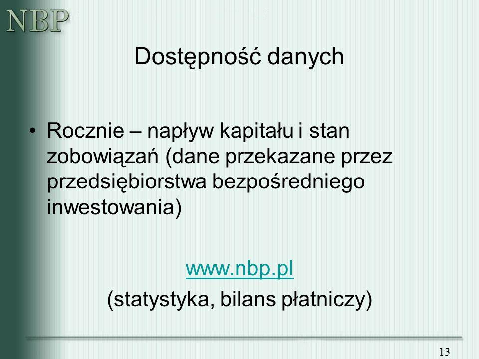 13 Dostępność danych Rocznie – napływ kapitału i stan zobowiązań (dane przekazane przez przedsiębiorstwa bezpośredniego inwestowania) www.nbp.pl (statystyka, bilans płatniczy)