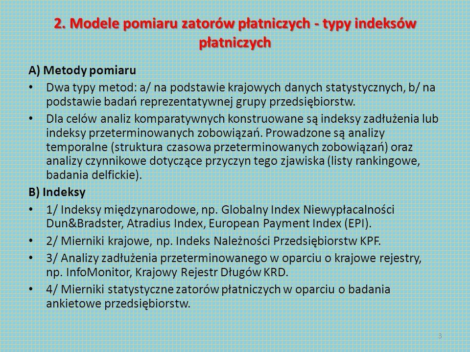 2. Modele pomiaru zatorów płatniczych - typy indeksów płatniczych A) Metody pomiaru Dwa typy metod: a/ na podstawie krajowych danych statystycznych, b
