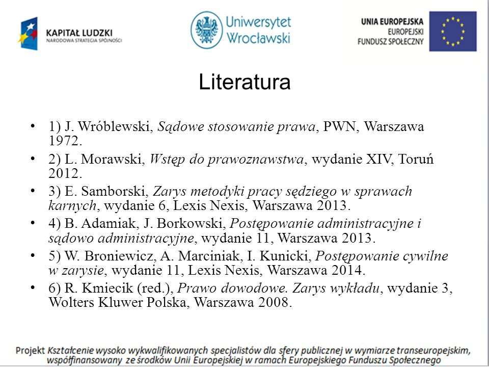 Literatura 1) J. Wróblewski, Sądowe stosowanie prawa, PWN, Warszawa 1972.