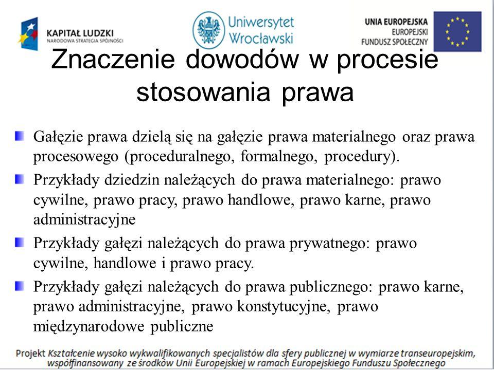 Znaczenie dowodów w procesie stosowania prawa Gałęzie prawa dzielą się na gałęzie prawa materialnego oraz prawa procesowego (proceduralnego, formalnego, procedury).