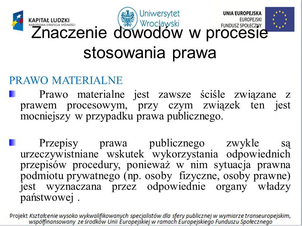 Znaczenie dowodów w procesie stosowania prawa PRAWO MATERIALNE Prawo materialne jest zawsze ściśle związane z prawem procesowym, przy czym związek ten jest mocniejszy w przypadku prawa publicznego.