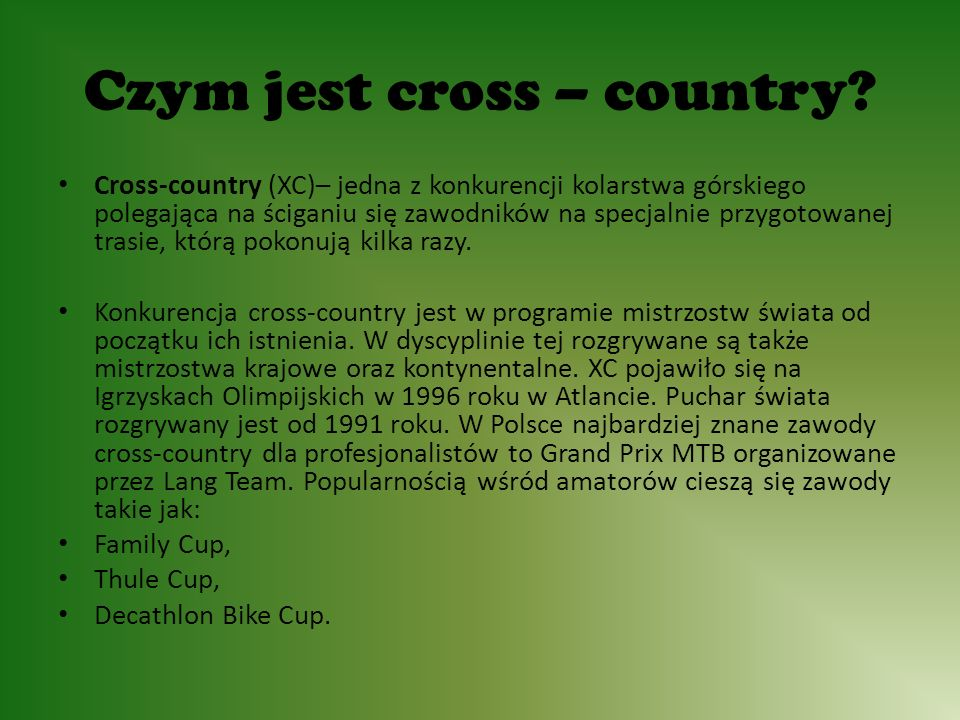 Czym jest cross – country.