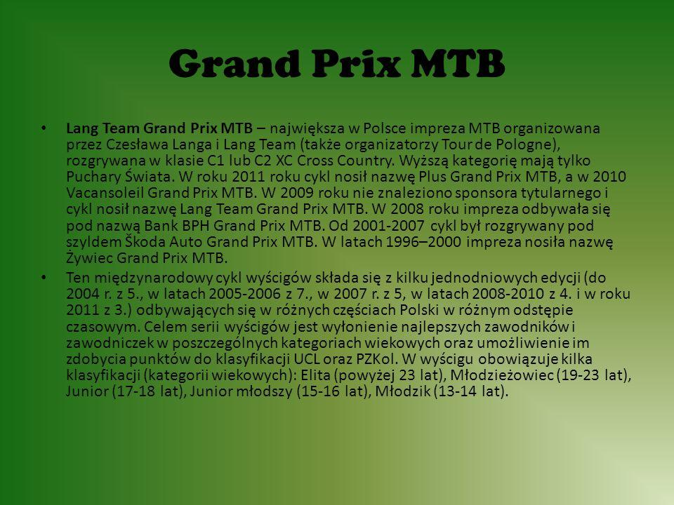 Grand Prix MTB Lang Team Grand Prix MTB – największa w Polsce impreza MTB organizowana przez Czesława Langa i Lang Team (także organizatorzy Tour de Pologne), rozgrywana w klasie C1 lub C2 XC Cross Country.