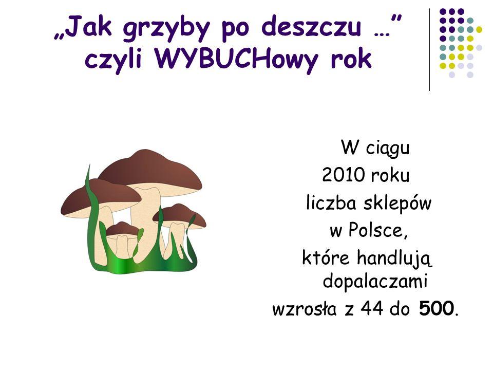 """""""Jak grzyby po deszczu … czyli WYBUCHowy rok W ciągu 2010 roku liczba sklepów w Polsce, które handlują dopalaczami wzrosła z 44 do 500."""