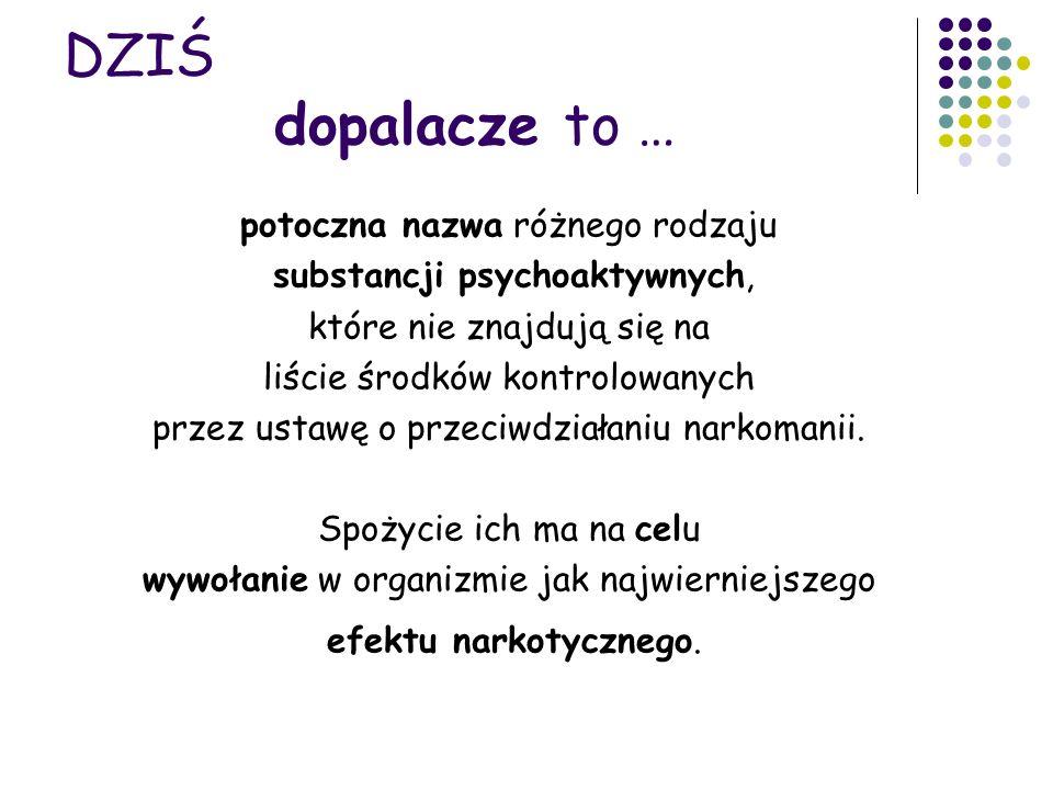 DZIŚ dopalacze to … potoczna nazwa różnego rodzaju substancji psychoaktywnych, które nie znajdują się na liście środków kontrolowanych przez ustawę o przeciwdziałaniu narkomanii.
