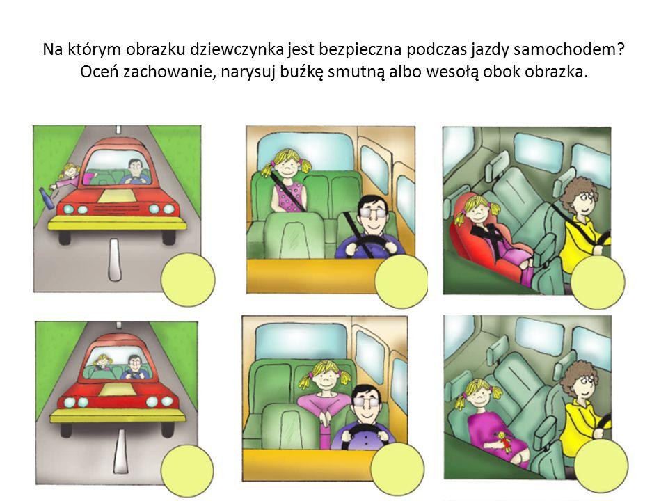 Na którym obrazku dziewczynka jest bezpieczna podczas jazdy samochodem.