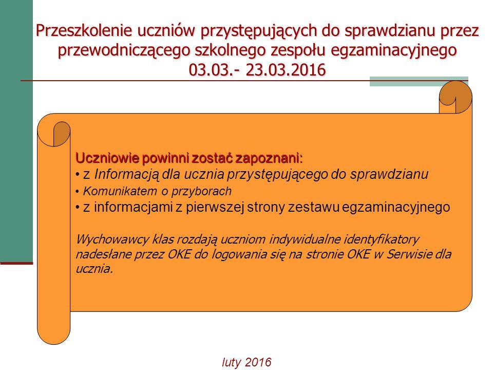 Serwis dla uczniów na stronie internetowej OKE w Gdańsku Logowanie: - wprowadzić otrzymany w szkole identyfikator i hasło (numer PESEL ucznia).