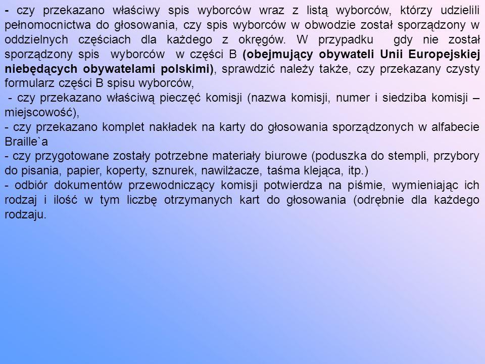 - czy przekazano właściwy spis wyborców wraz z listą wyborców, którzy udzielili pełnomocnictwa do głosowania, czy spis wyborców w obwodzie został sporządzony w oddzielnych częściach dla każdego z okręgów.