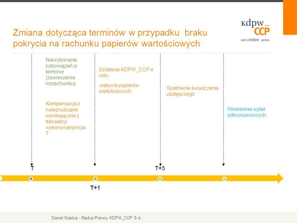 Zmiana dotycząca terminów w przypadku braku pokrycia na rachunku papierów wartościowych Niewykonanie zobowiązań w terminie (zawieszenie rozrachunku) Kompensacja z należnościami wynikającymi z transakcji wykonywanymi po T Działania KDPW_CCP w celu: -nabycia papierów wartościowych Spełnienie świadczenia zastępczego T T+1 T+5 Wniesienie wpłat odtworzeniowych Daniel Szańca - Radca Prawny KDPW_CCP S.A.