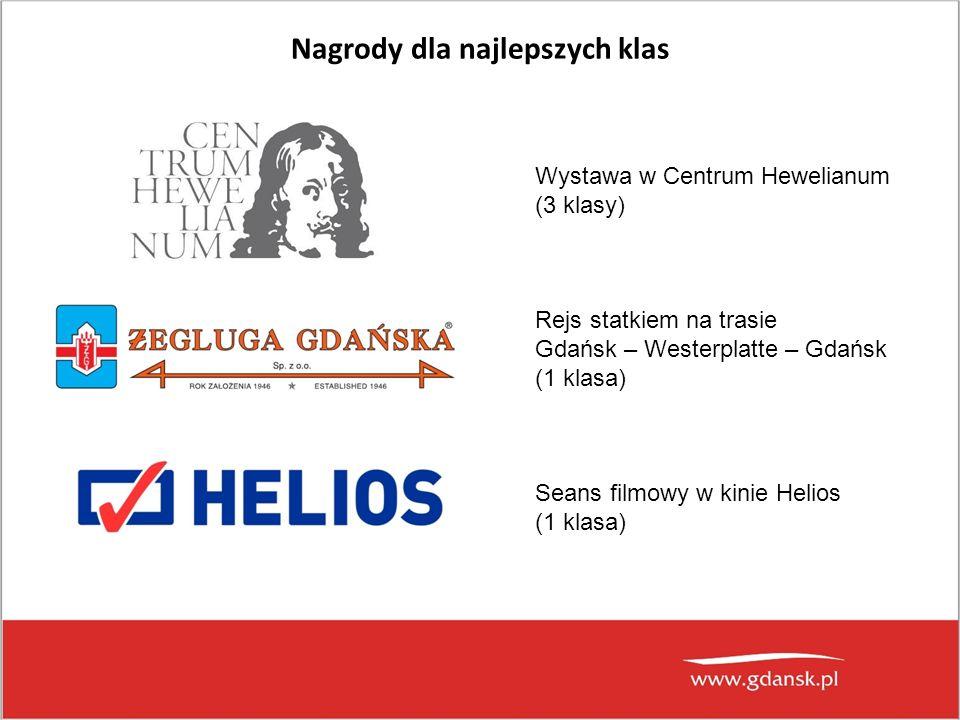 Nagrody dla najlepszych klas Wystawa w Centrum Hewelianum (3 klasy) Rejs statkiem na trasie Gdańsk – Westerplatte – Gdańsk (1 klasa) Seans filmowy w k
