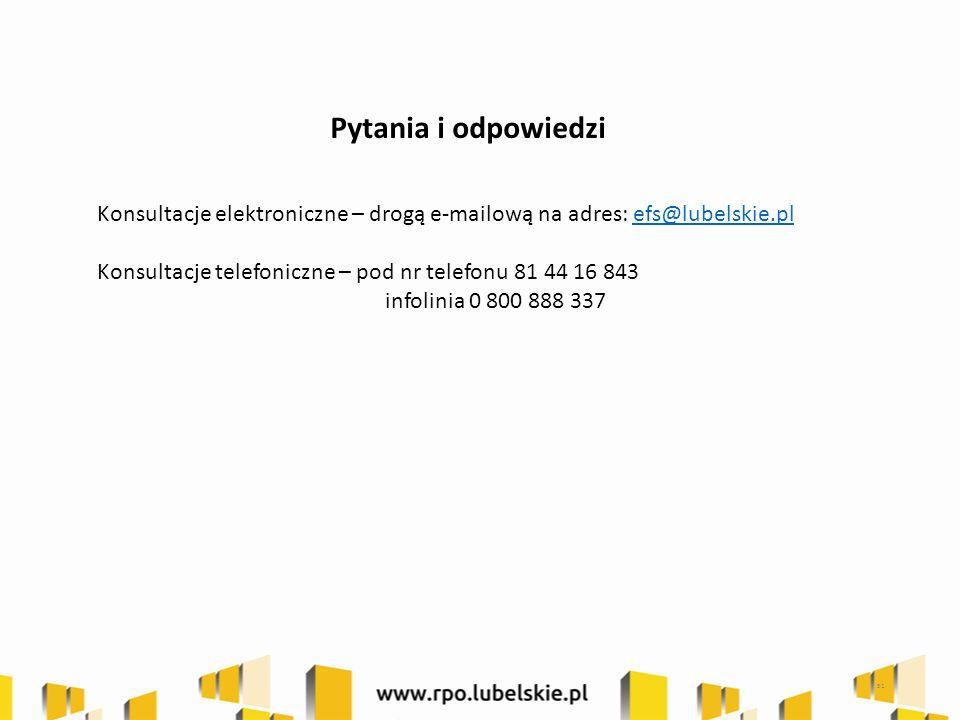 Pytania i odpowiedzi Konsultacje elektroniczne – drogą e-mailową na adres: efs@lubelskie.plefs@lubelskie.pl Konsultacje telefoniczne – pod nr telefonu 81 44 16 843 infolinia 0 800 888 337 51