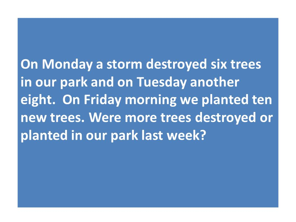 On Monday a storm destroyed six trees in our park and on Tuesday another eight.