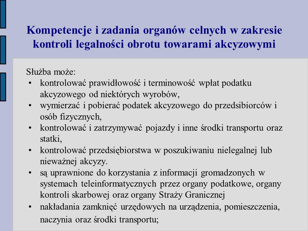 Kompetencje i zadania organów celnych w zakresie kontroli legalności obrotu towarami akcyzowymi Służba może: kontrolować prawidłowość i terminowość wp