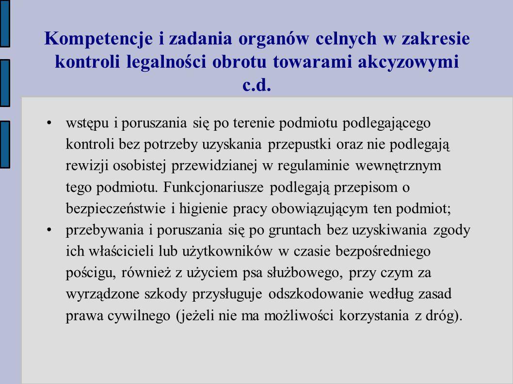 Kompetencje i zadania organów celnych w zakresie kontroli legalności obrotu towarami akcyzowymi c.d. wstępu i poruszania się po terenie podmiotu podle