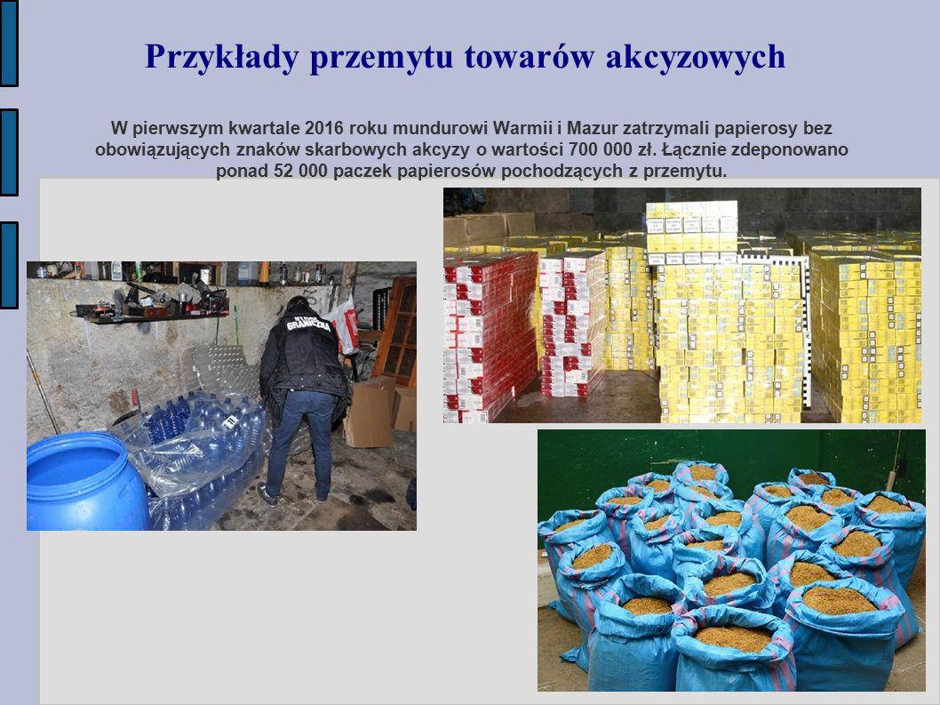 W pierwszym kwartale 2016 roku mundurowi Warmii i Mazur zatrzymali papierosy bez obowiązujących znaków skarbowych akcyzy o wartości 700 000 zł. Łączni