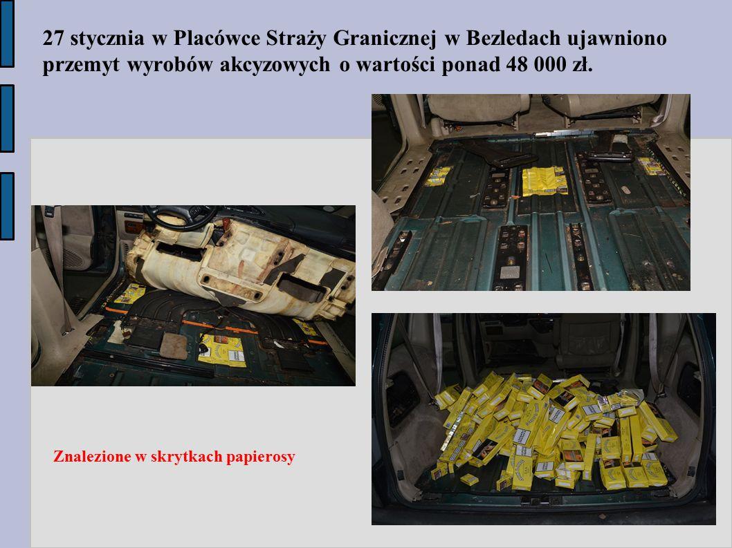 Znalezione w skrytkach papierosy 27 stycznia w Placówce Straży Granicznej w Bezledach ujawniono przemyt wyrobów akcyzowych o wartości ponad 48 000 zł.
