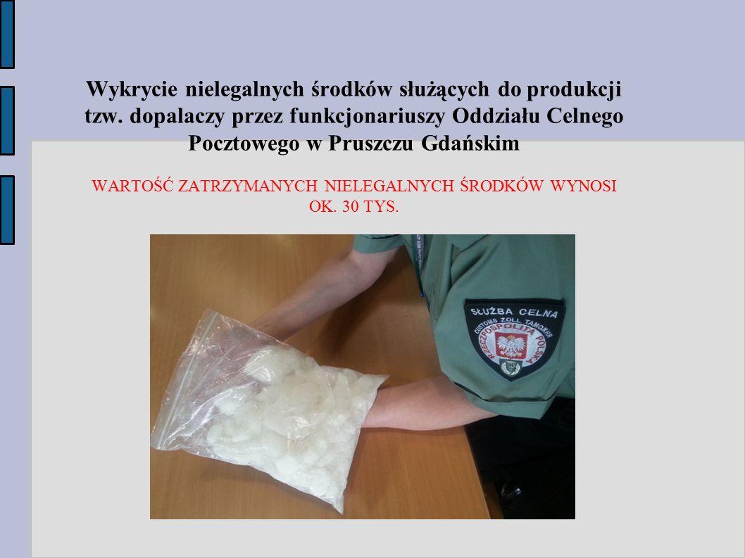 Wykrycie nielegalnych środków służących do produkcji tzw. dopalaczy przez funkcjonariuszy Oddziału Celnego Pocztowego w Pruszczu Gdańskim WARTOŚĆ ZATR