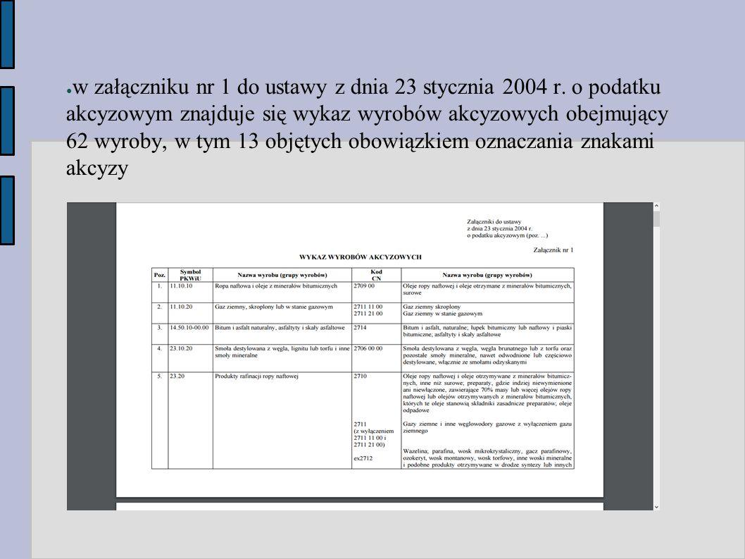 ● w załączniku nr 1 do ustawy z dnia 23 stycznia 2004 r. o podatku akcyzowym znajduje się wykaz wyrobów akcyzowych obejmujący 62 wyroby, w tym 13 obję