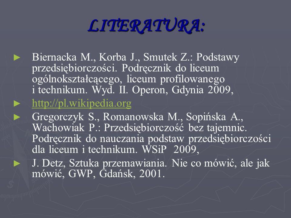 LITERATURA: ► ► Biernacka M., Korba J., Smutek Z.: Podstawy przedsiębiorczości.