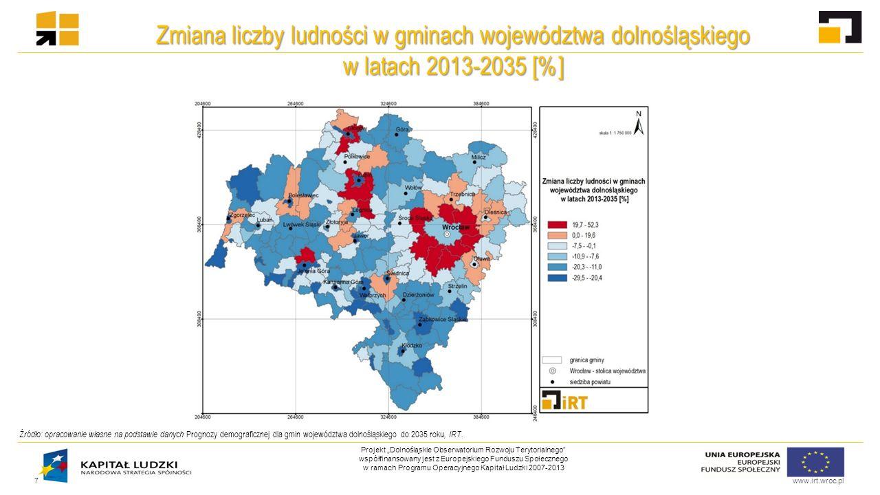 """www.irt.wroc.pl Projekt """"Dolnośląskie Obserwatorium Rozwoju Terytorialnego współfinansowany jest z Europejskiego Funduszu Społecznego w ramach Programu Operacyjnego Kapitał Ludzki 2007-2013 Wskaźnik umieralności na 1000 osób wg województw w 1995 oraz 2013 roku 8 Źródło: opracowanie własne na podstawie danych BDL, GUS."""