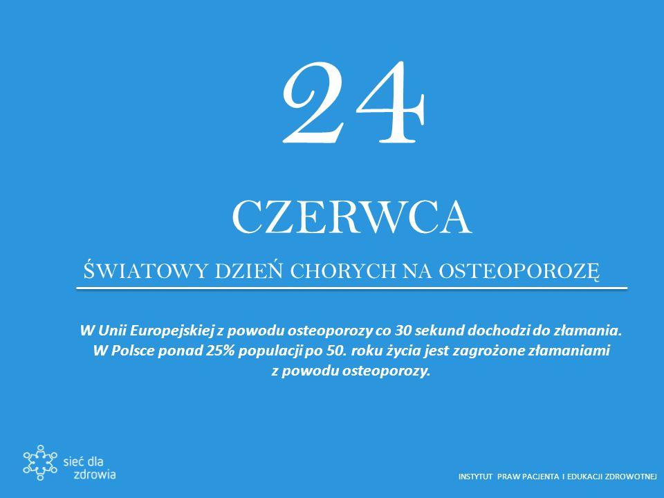 24 CZERWCA Ś WIATOWY DZIE Ń CHORYCH NA OSTEOPOROZ Ę W Unii Europejskiej z powodu osteoporozy co 30 sekund dochodzi do złamania.