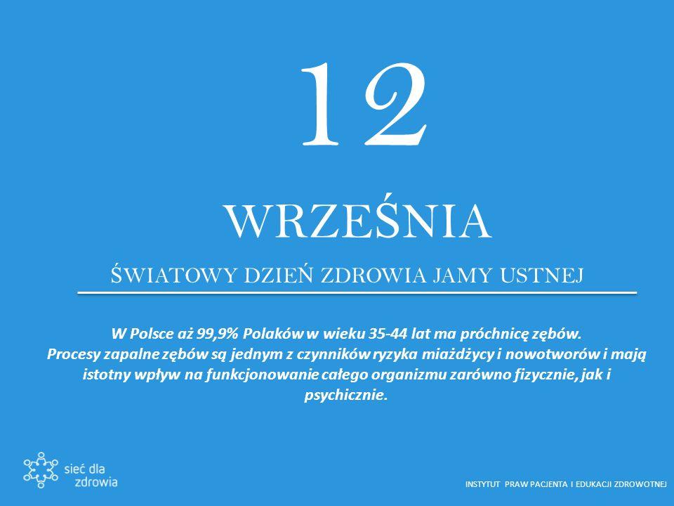 12 WRZE Ś NIA Ś WIATOWY DZIE Ń ZDROWIA JAMY USTNEJ W Polsce aż 99,9% Polaków w wieku 35-44 lat ma próchnicę zębów.