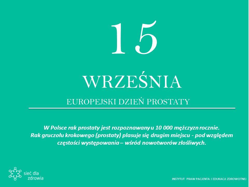 15 WRZE Ś NIA EUROPEJSKI DZIE Ń PROSTATY W Polsce rak prostaty jest rozpoznawany u 10 000 mężczyzn rocznie.