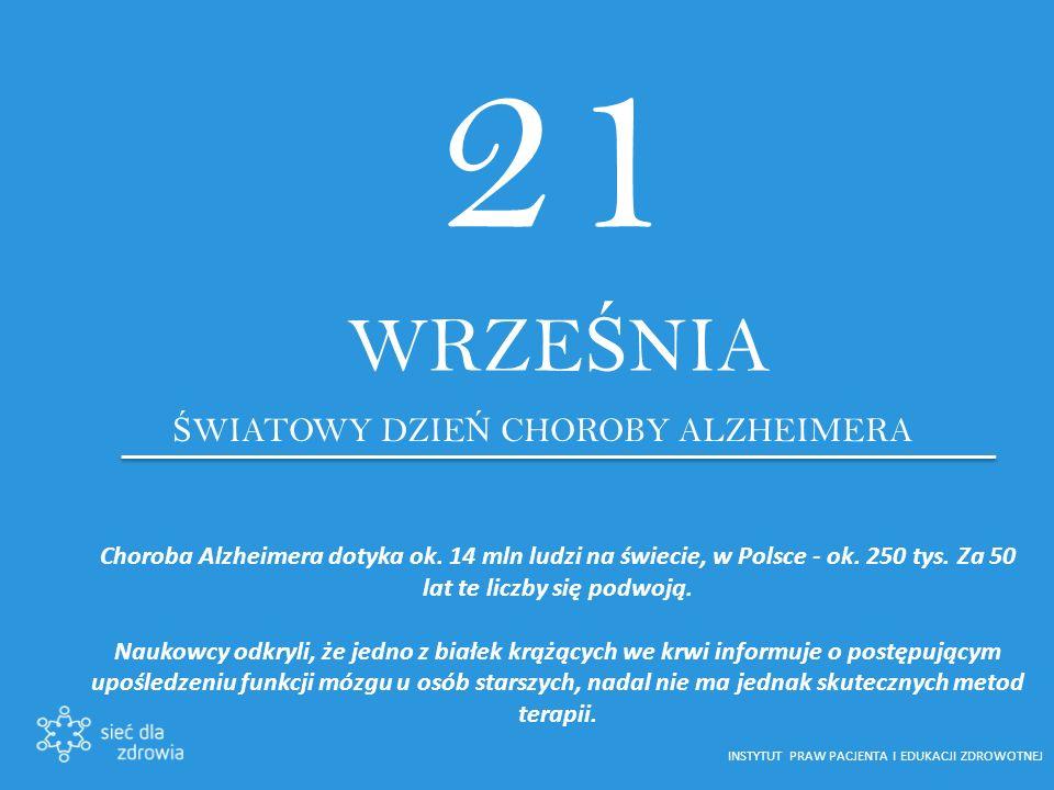 21 WRZE Ś NIA Ś WIATOWY DZIE Ń CHOROBY ALZHEIMERA Choroba Alzheimera dotyka ok.