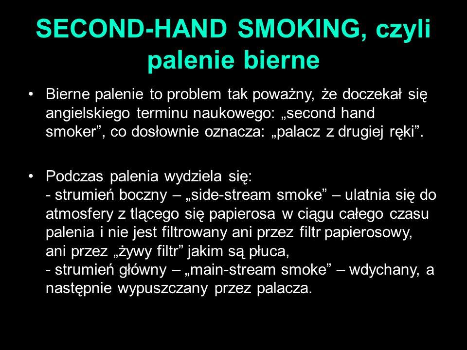 """SECOND-HAND SMOKING, czyli palenie bierne Bierne palenie to problem tak poważny, że doczekał się angielskiego terminu naukowego: """"second hand smoker , co dosłownie oznacza: """"palacz z drugiej ręki ."""