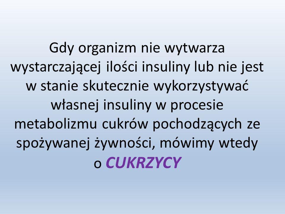 Gdy organizm nie wytwarza wystarczającej ilości insuliny lub nie jest w stanie skutecznie wykorzystywać własnej insuliny w procesie metabolizmu cukrów pochodzących ze spożywanej żywności, mówimy wtedy o CUKRZYCY