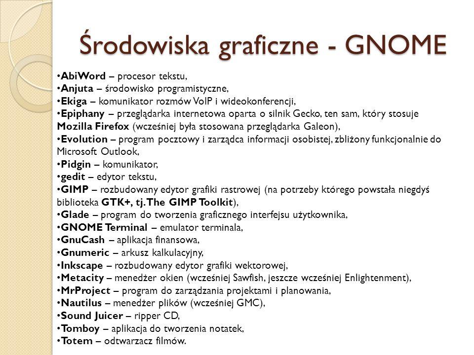 Środowiska graficzne - GNOME AbiWord – procesor tekstu, Anjuta – środowisko programistyczne, Ekiga – komunikator rozmów VoIP i wideokonferencji, Epiph