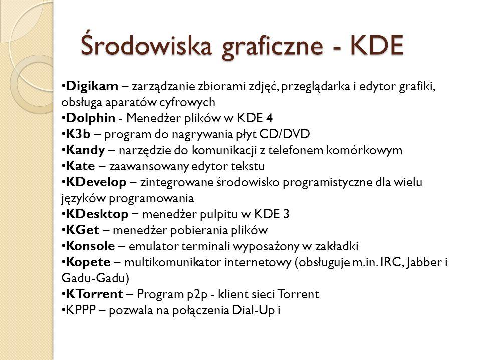 Środowiska graficzne - KDE Digikam – zarządzanie zbiorami zdjęć, przeglądarka i edytor grafiki, obsługa aparatów cyfrowych Dolphin - Menedżer plików w KDE 4 K3b – program do nagrywania płyt CD/DVD Kandy – narzędzie do komunikacji z telefonem komórkowym Kate – zaawansowany edytor tekstu KDevelop – zintegrowane środowisko programistyczne dla wielu języków programowania KDesktop − menedżer pulpitu w KDE 3 KGet – menedżer pobierania plików Konsole – emulator terminali wyposażony w zakładki Kopete – multikomunikator internetowy (obsługuje m.in.