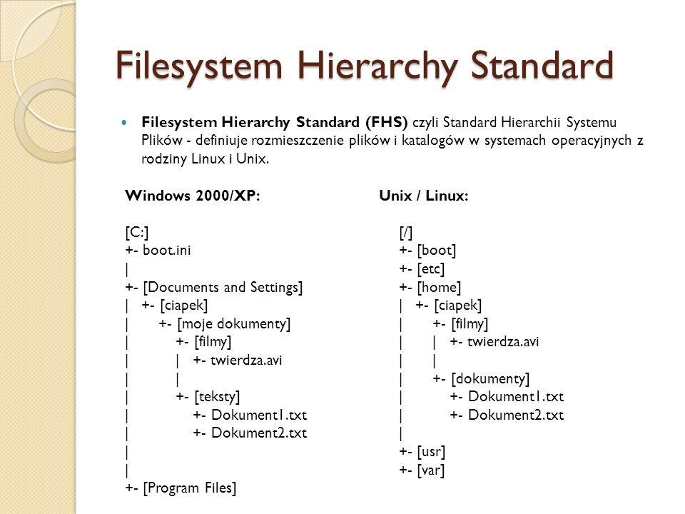 Filesystem Hierarchy Standard Filesystem Hierarchy Standard (FHS) czyli Standard Hierarchii Systemu Plików - definiuje rozmieszczenie plików i katalogów w systemach operacyjnych z rodziny Linux i Unix.