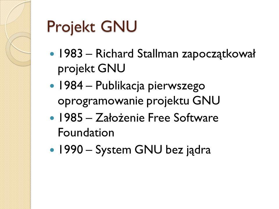 Projekt GNU 1983 – Richard Stallman zapoczątkował projekt GNU 1984 – Publikacja pierwszego oprogramowanie projektu GNU 1985 – Założenie Free Software Foundation 1990 – System GNU bez jądra