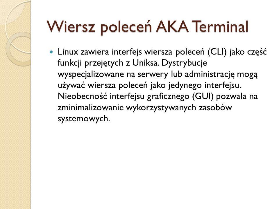 Wiersz poleceń AKA Terminal Linux zawiera interfejs wiersza poleceń (CLI) jako część funkcji przejętych z Uniksa. Dystrybucje wyspecjalizowane na serw