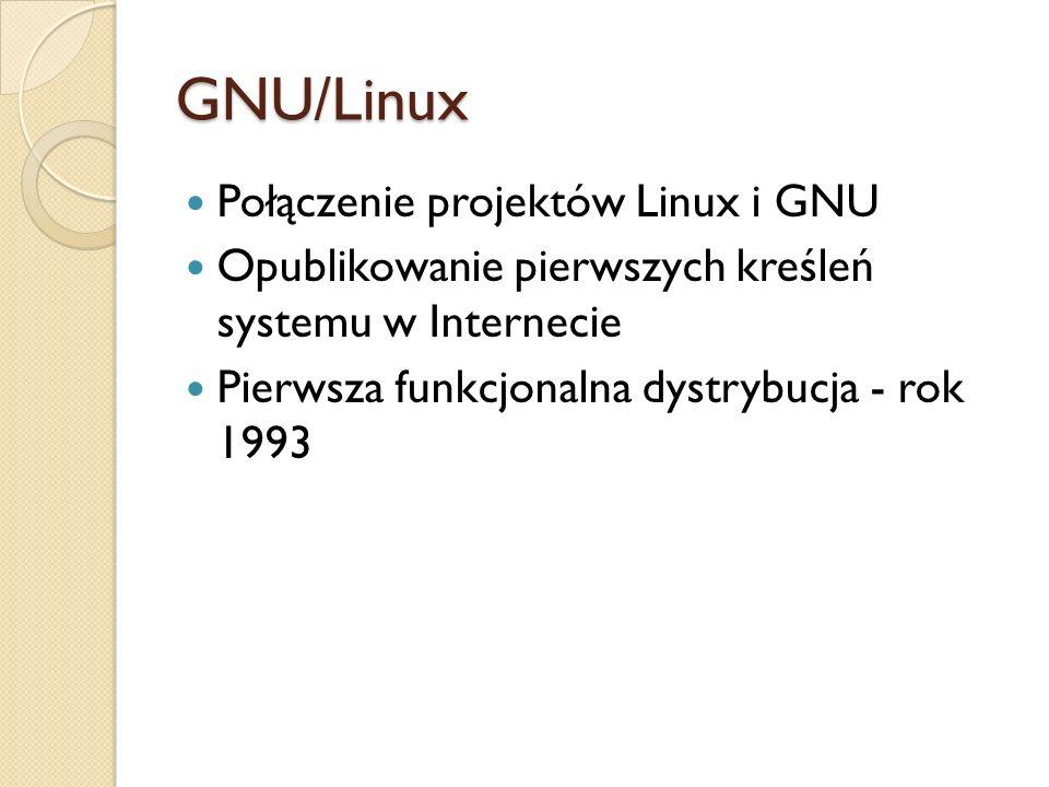 GNU/Linux Połączenie projektów Linux i GNU Opublikowanie pierwszych kreśleń systemu w Internecie Pierwsza funkcjonalna dystrybucja - rok 1993