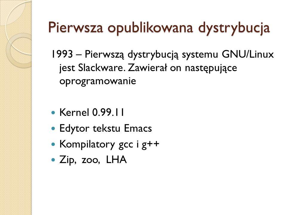 Pierwsza opublikowana dystrybucja 1993 – Pierwszą dystrybucją systemu GNU/Linux jest Slackware. Zawierał on następujące oprogramowanie Kernel 0.99.11