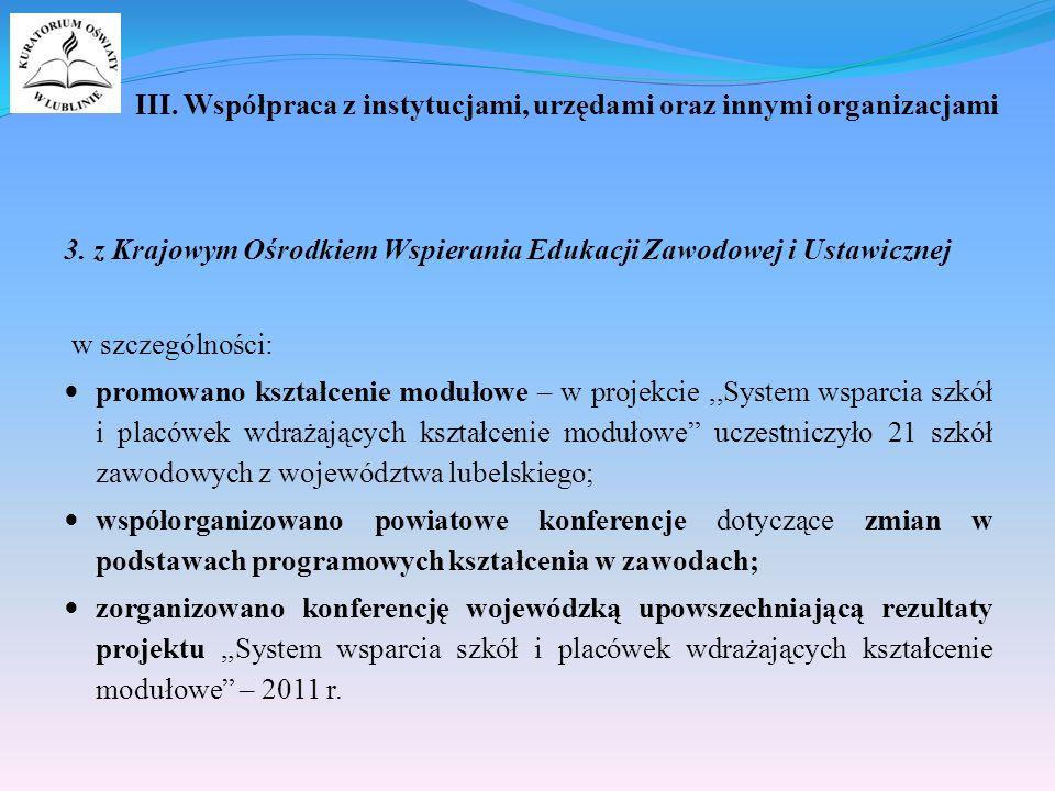 III. Współpraca z instytucjami, urzędami oraz innymi organizacjami 3.